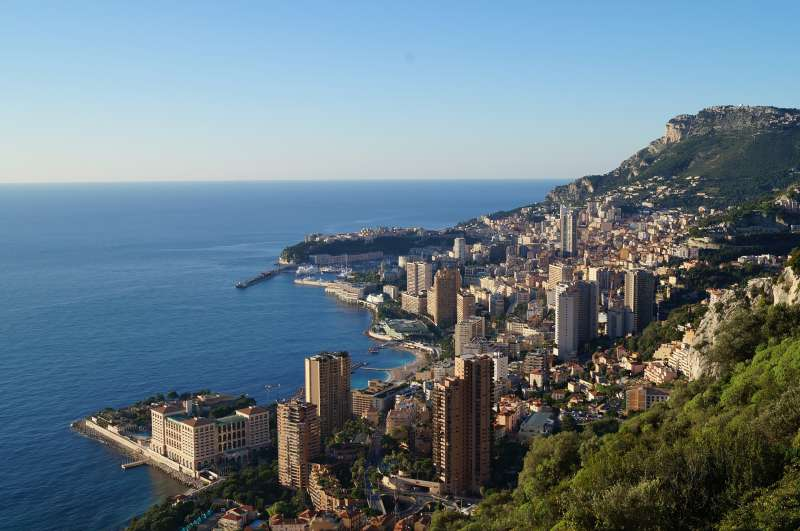 View over sea side Monaco from mountain