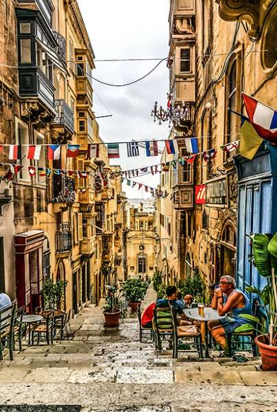 Beautiful decorated little street in Mediterranean