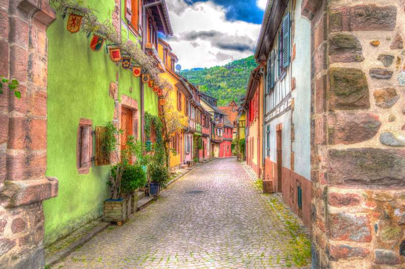 Little street with colorful houses