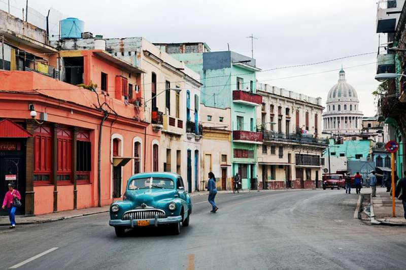 A view of Havana with a typical Cuban car